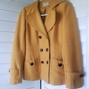 Forever 21 Mustard Yellow Wool Blend Pea Coat